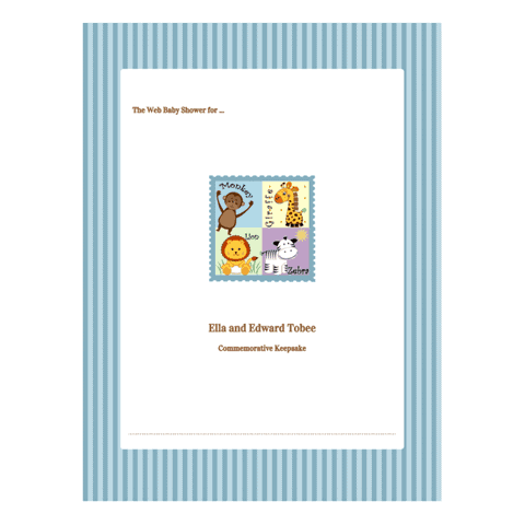 Baby Shower Guest Book Printable Scrapbook Example - Blue