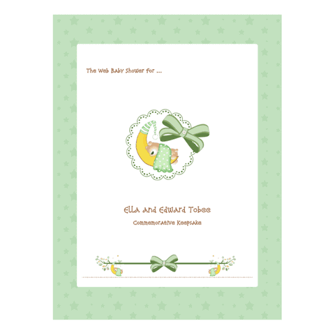 Baby Shower Guest Book Printable Scrapbook Example - Green