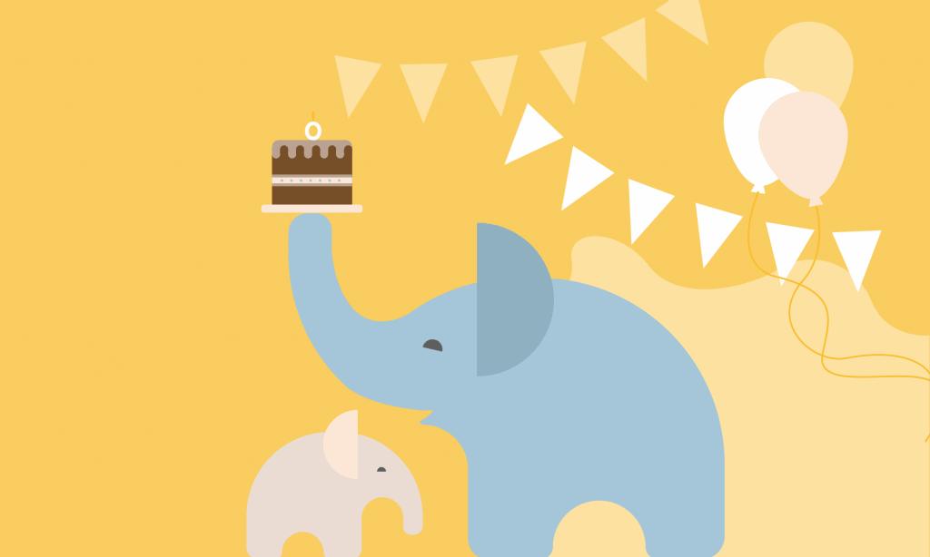 webbabyshower elephant with cake