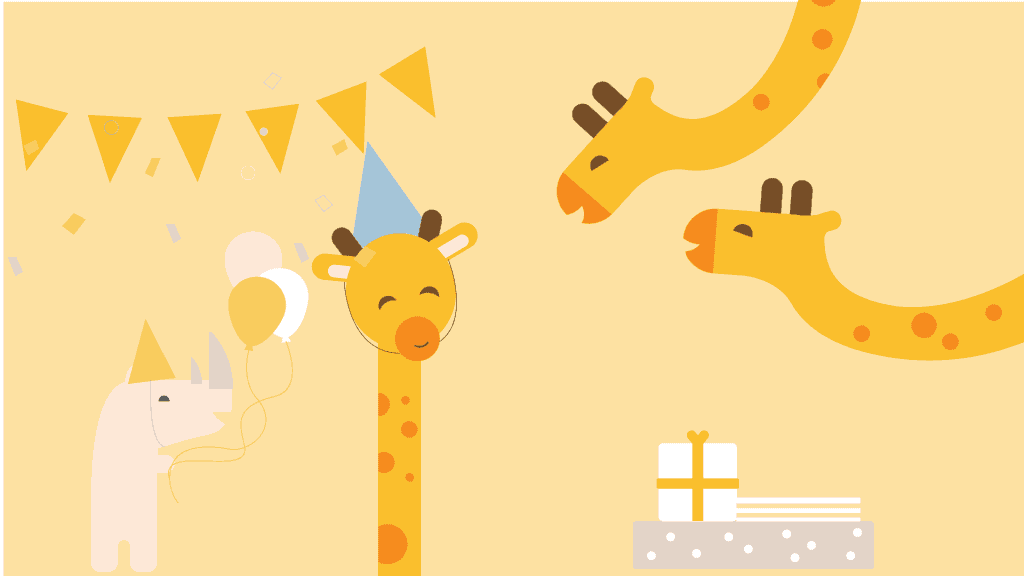 webbabyshower giraffe and rhino in virtual baby shower party