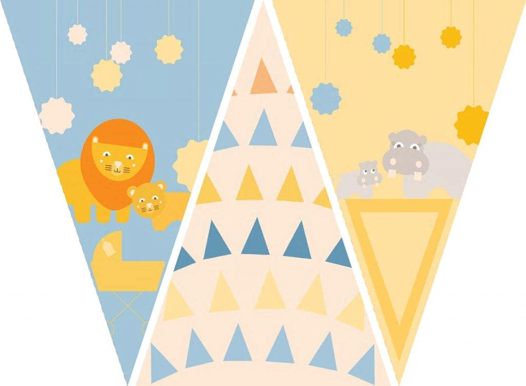 WebBabyShower Printables Party Flags Graphics 2