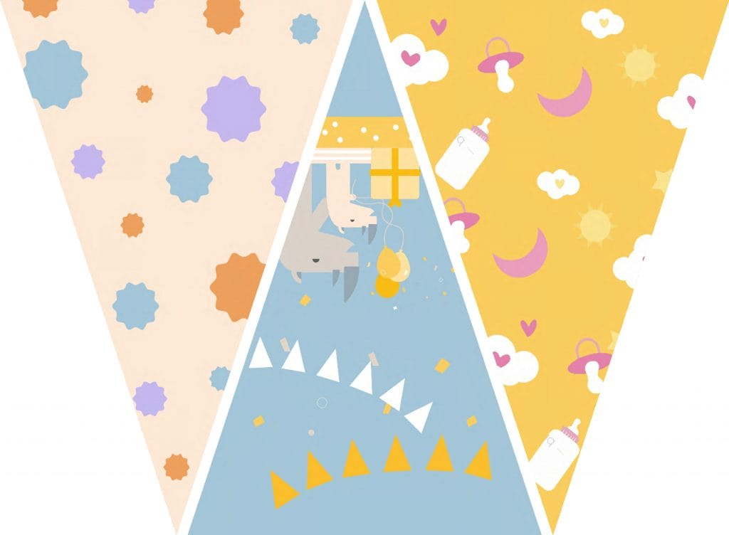 WebBabyShower Printables Party Flags Graphics 3