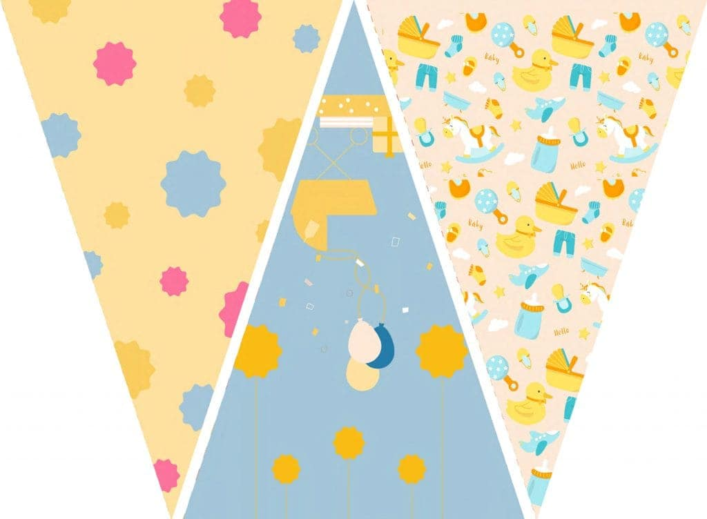WebBabyShower Printables Party Flags Graphics 8