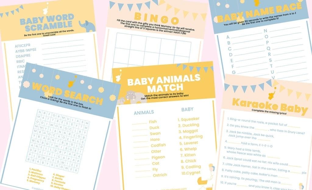 WebBabyShower Free Printable Baby Shower Games