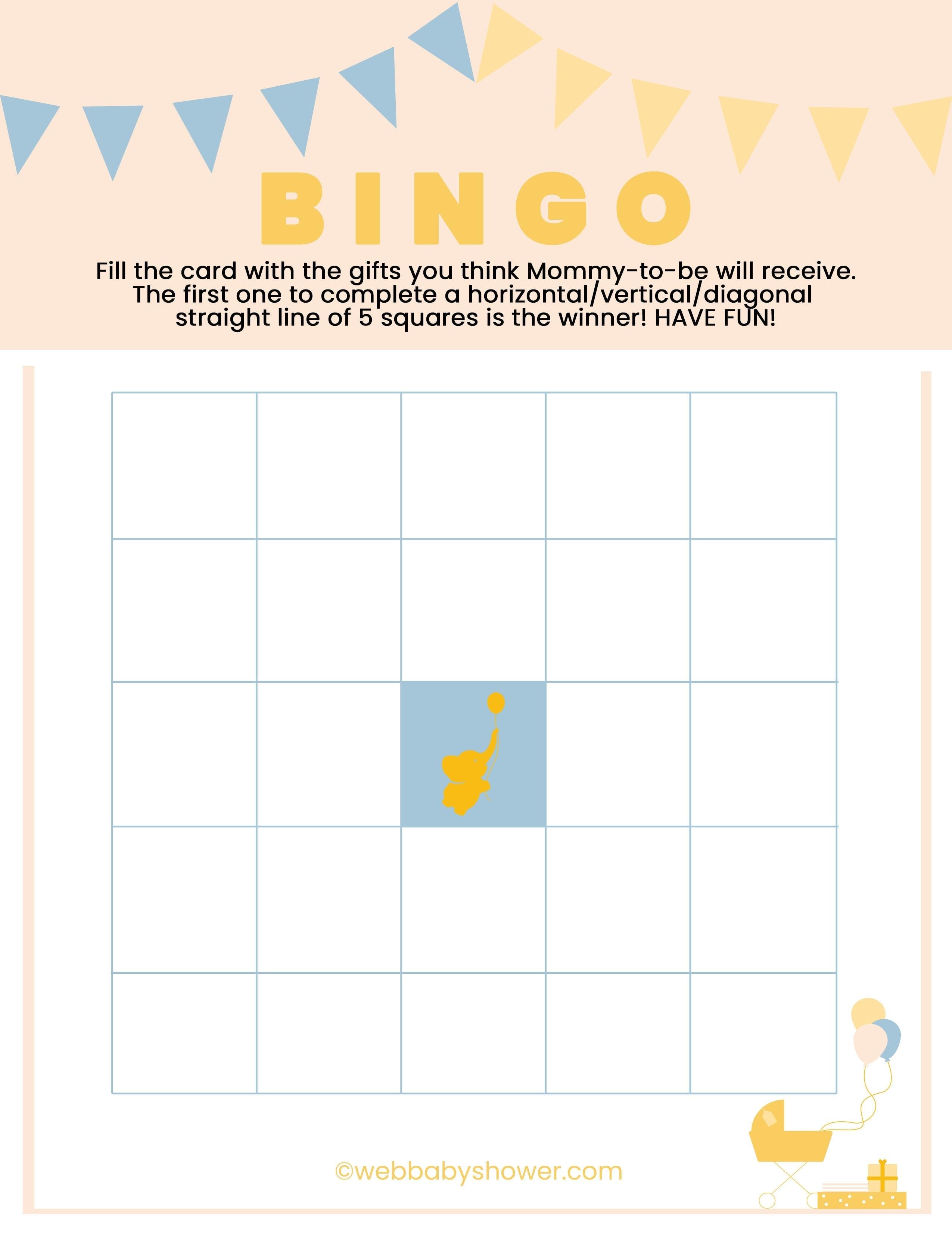 WebBabyShower Printables Games Bingo