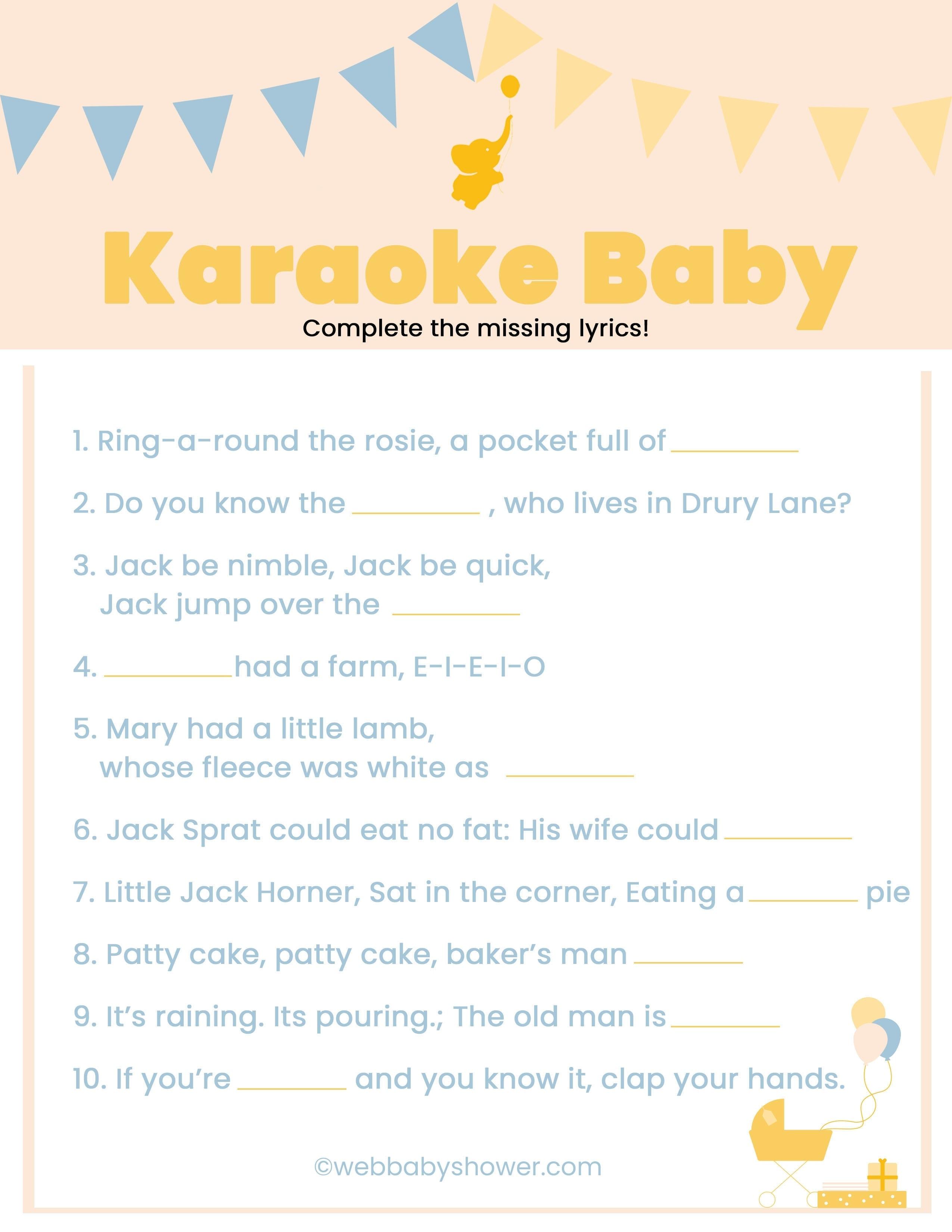 WebBabyShower Printables Games Nursery Rhyme