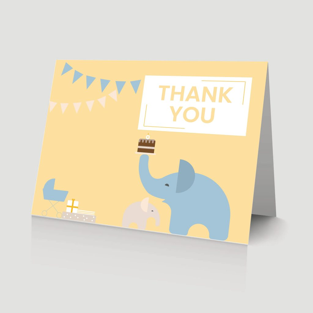 WebBabyShower - thank you card - elephants and gifts