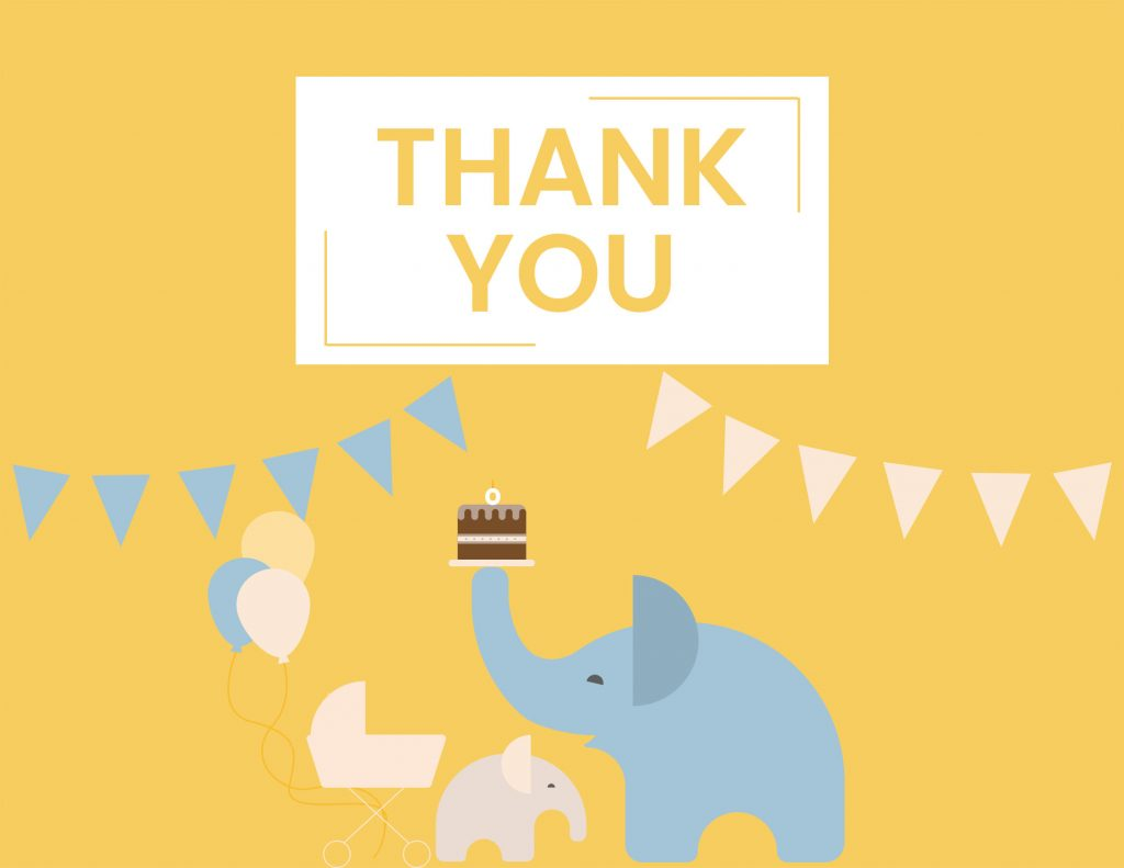 WebBabyShower - thank you card - elephants on yellow