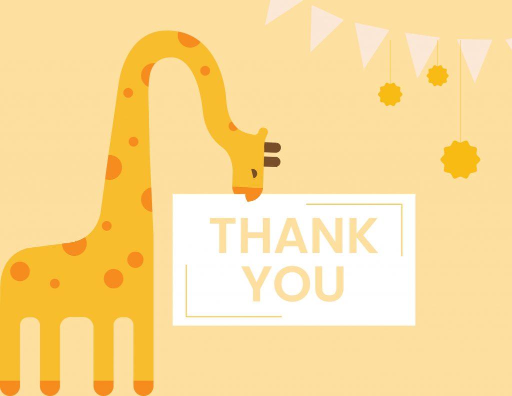 WebBabyShower - thank you card - giraffe yellow
