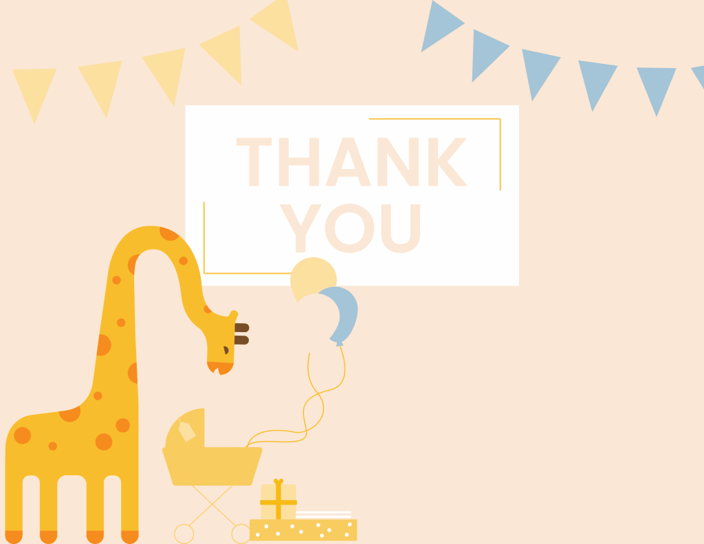 WebBabyShower - thank you card -giraffe and balloons