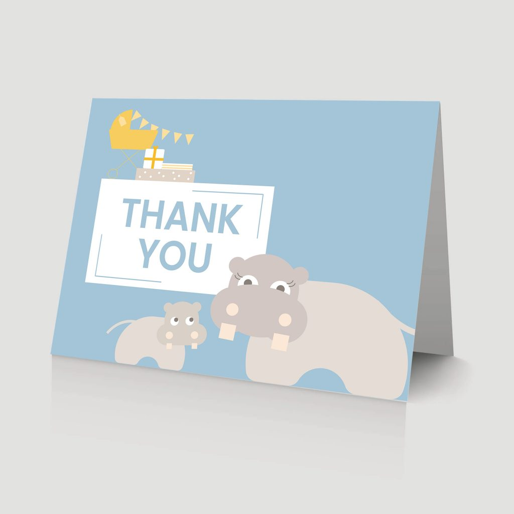 WebBabyShower - thank you card - hippo and baby blue