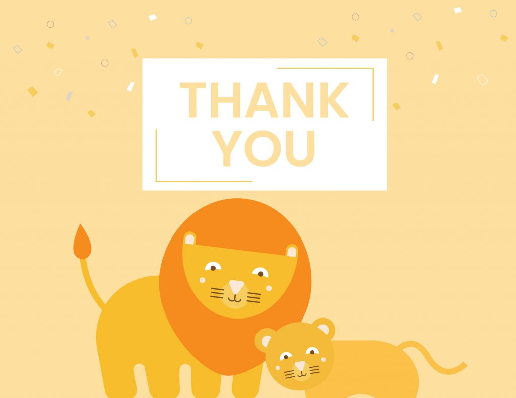 WebBabyShower - thank you card - lion and baby