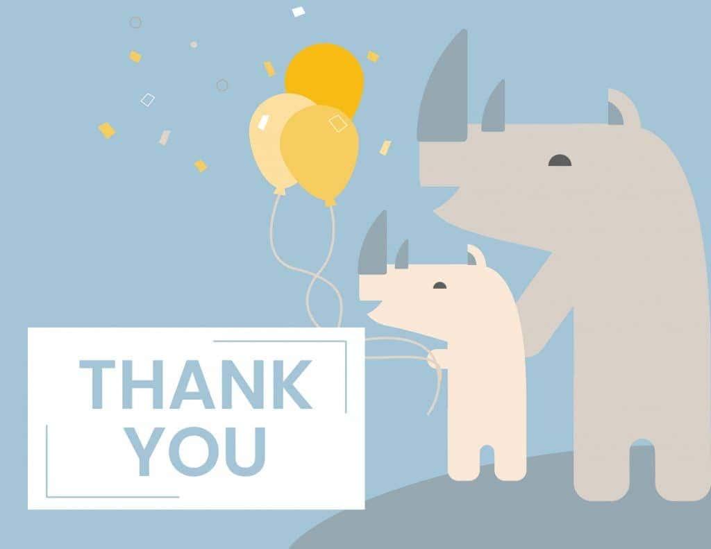 WebBabyShower - thank you card - rhinos blue