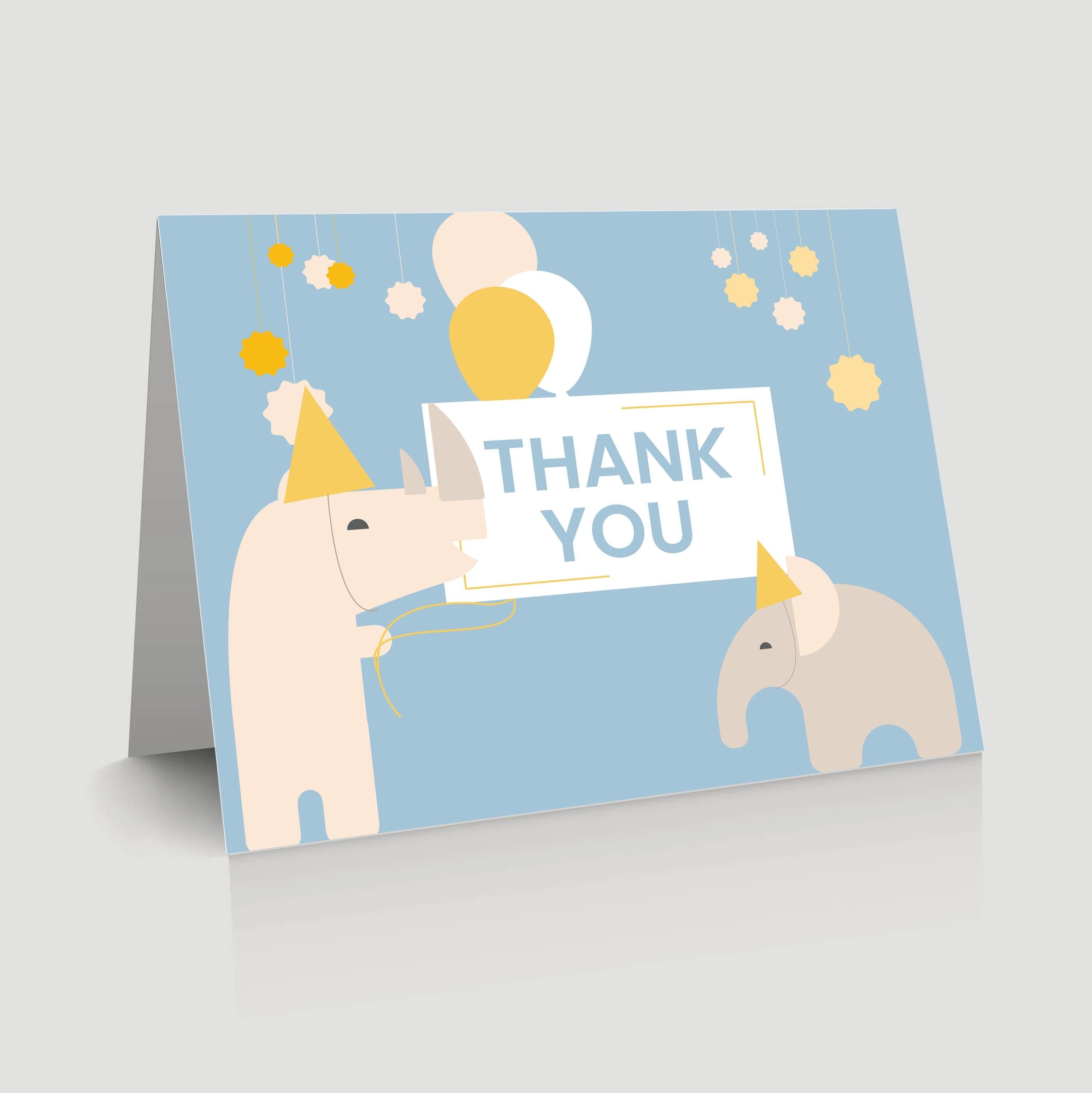 WebBabyShower - thank you card - rhinos and elephant