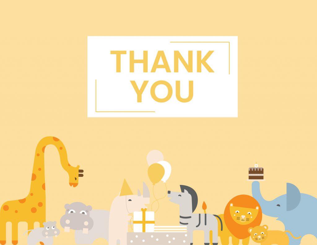 WebBabyShower - thank you card - safari animals