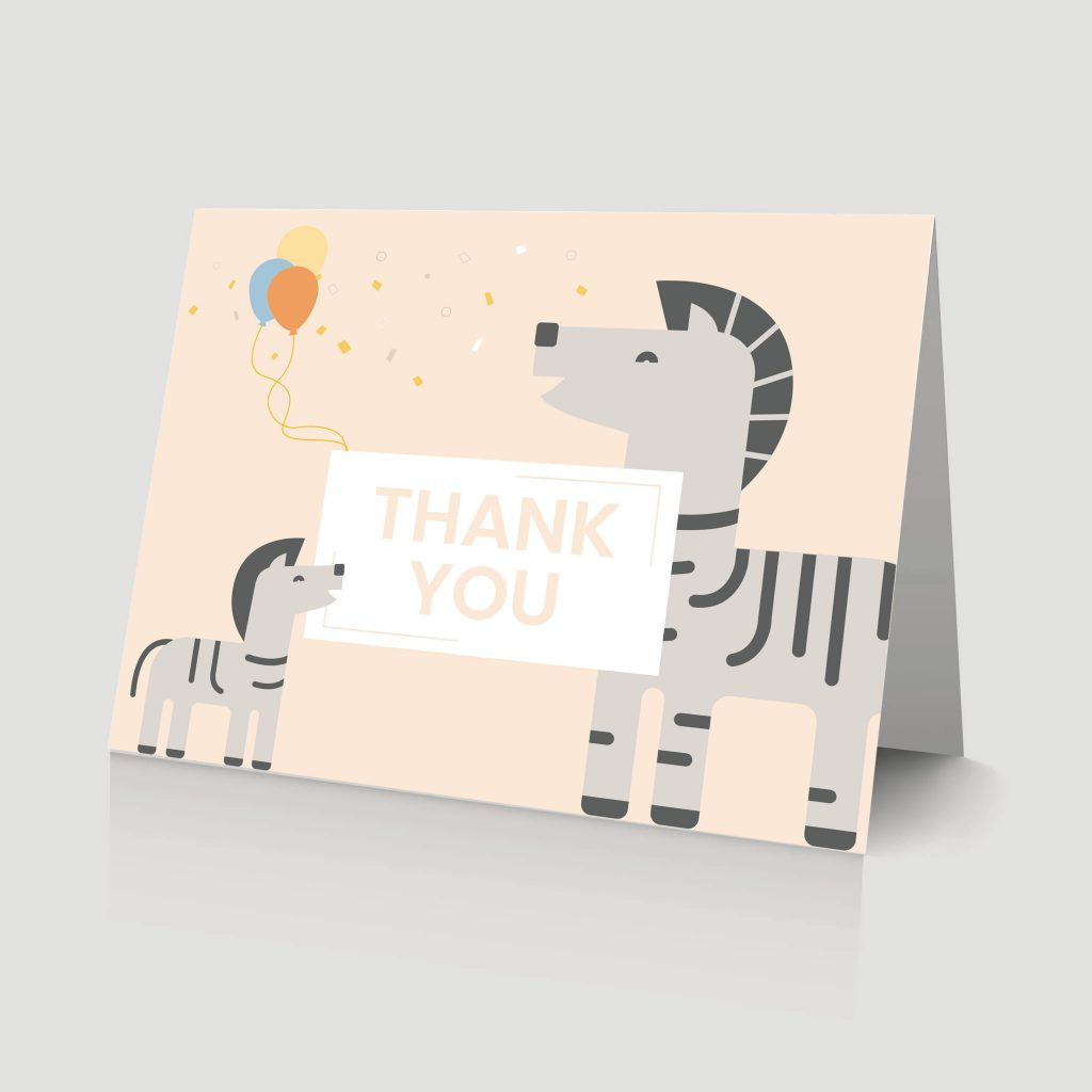 WebBabyShower - thank you card - zebra and baby ballons