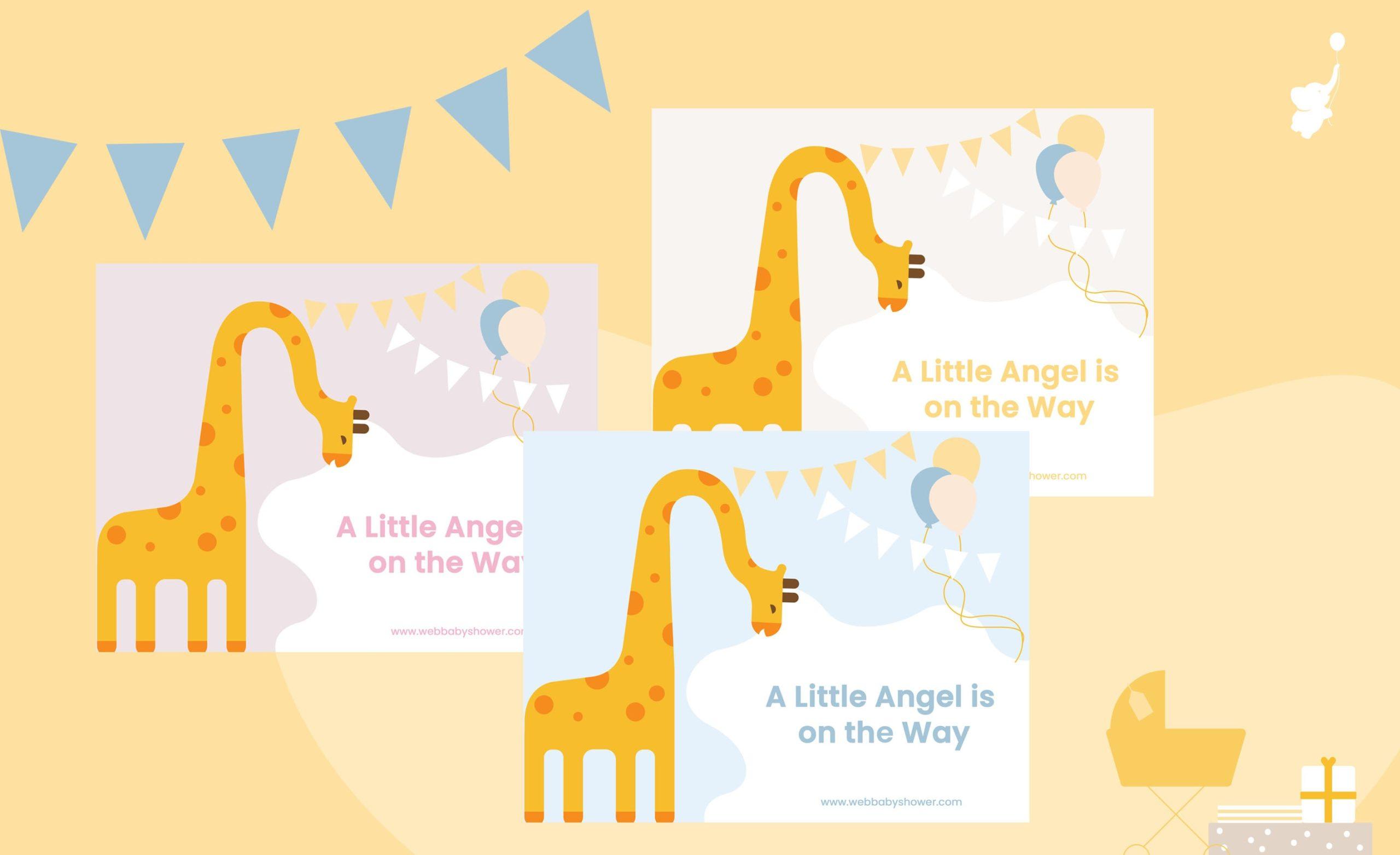 WebBabyShower Giraffe Invitation Little Angel