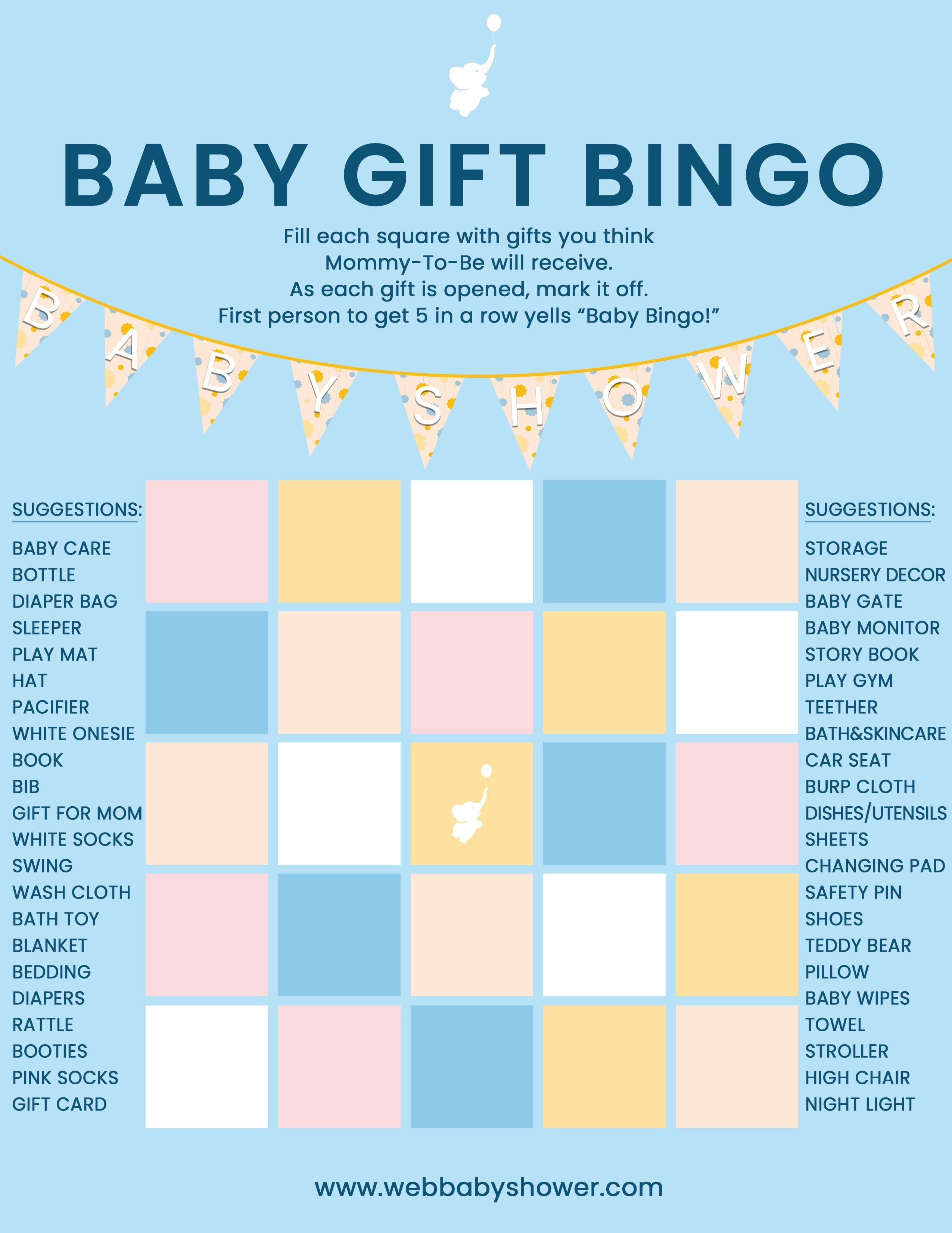 WebBabyShower Baby Gift Bingo Blue