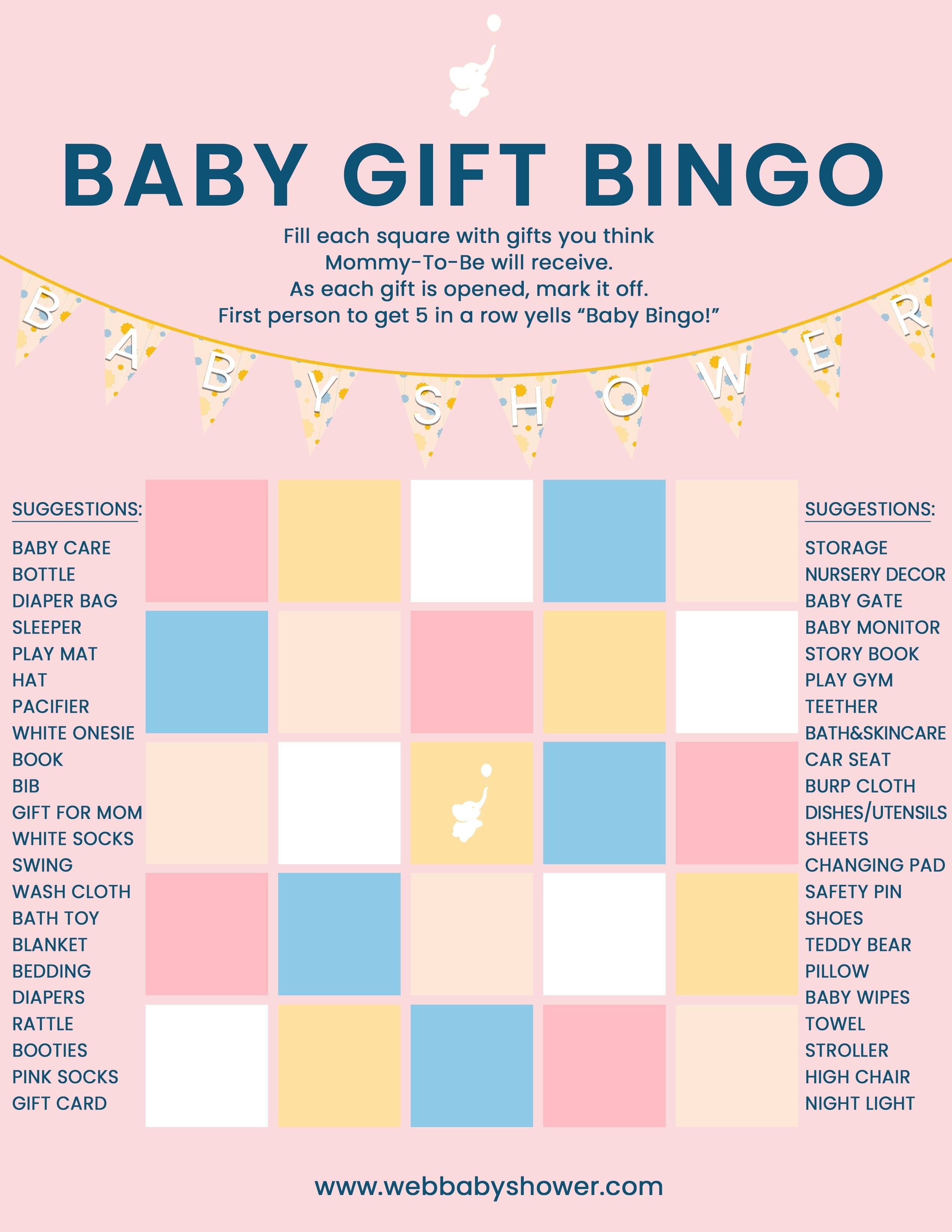 WebBabyShower Baby Gift Bingo Pink