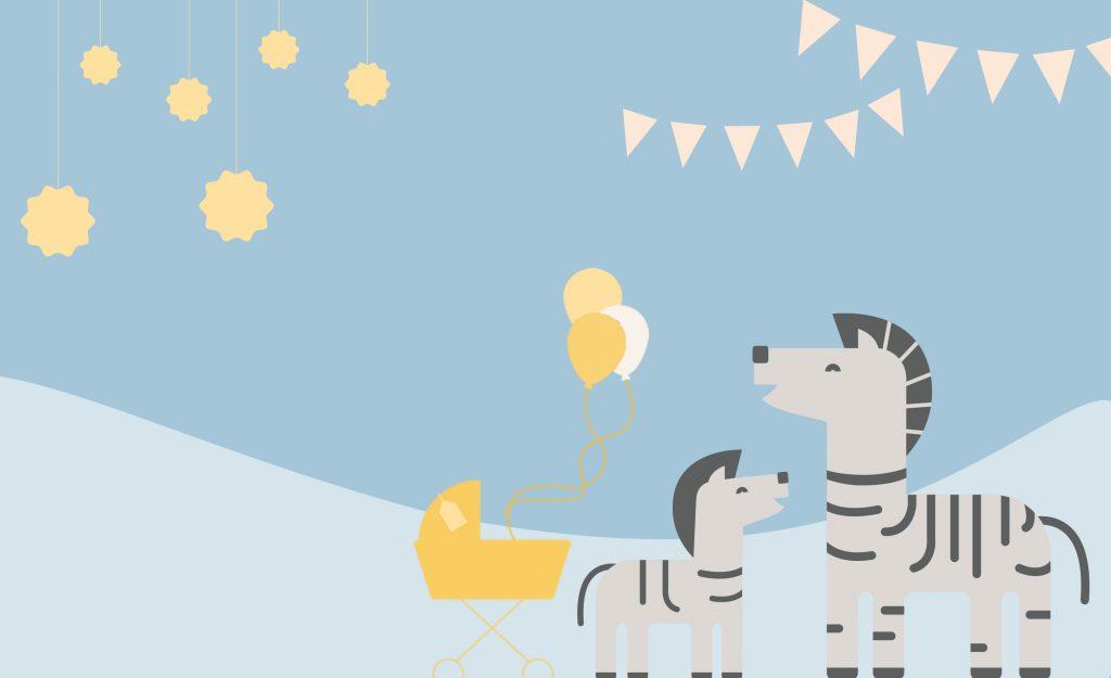 WebBabyShower Zebra Balloons Blue