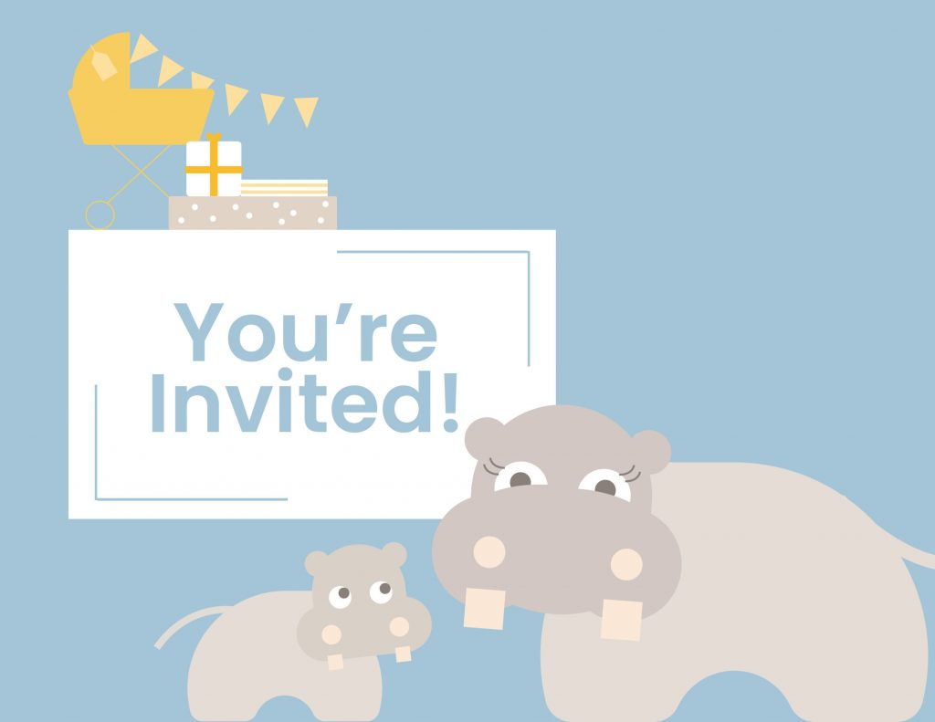 WebBabyShower you ar einvited hippo