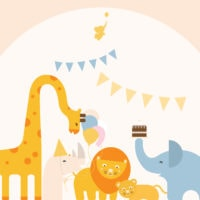 WebBabyShower header image giraffe hippo lion elephant with party flags