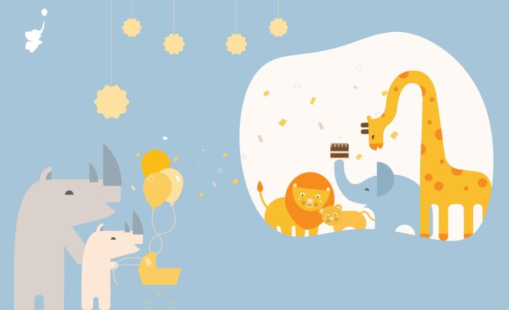 WebBabyShower Zoom baby shower safari animals with balloons