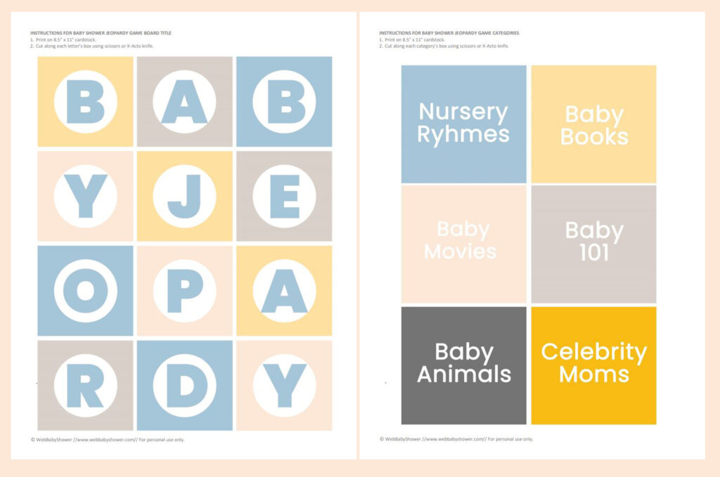 baby jeopardy game printable preview | WebBabyShower