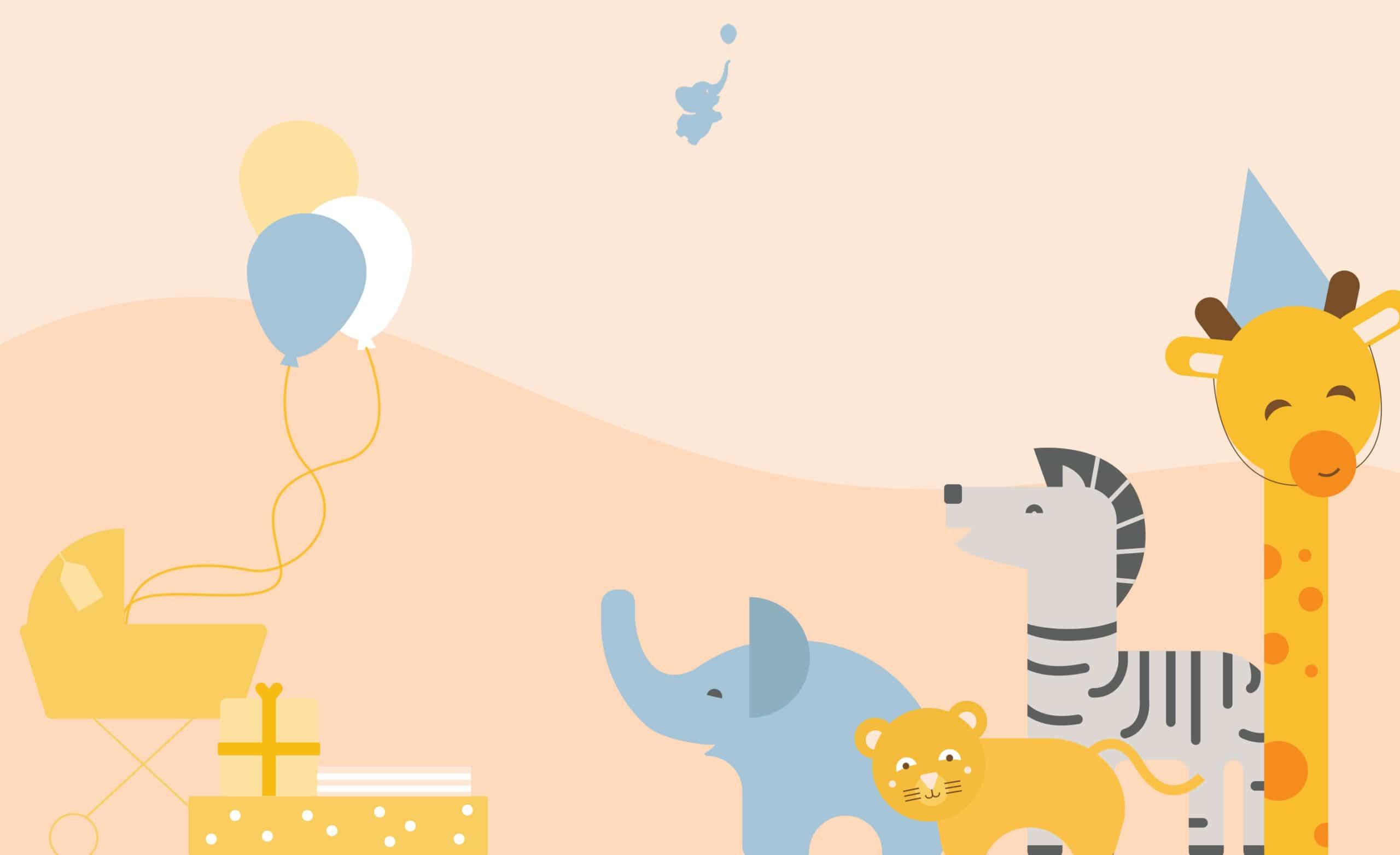 webbabyshower header image balloons giraffe zebra lion elephant gift stroller