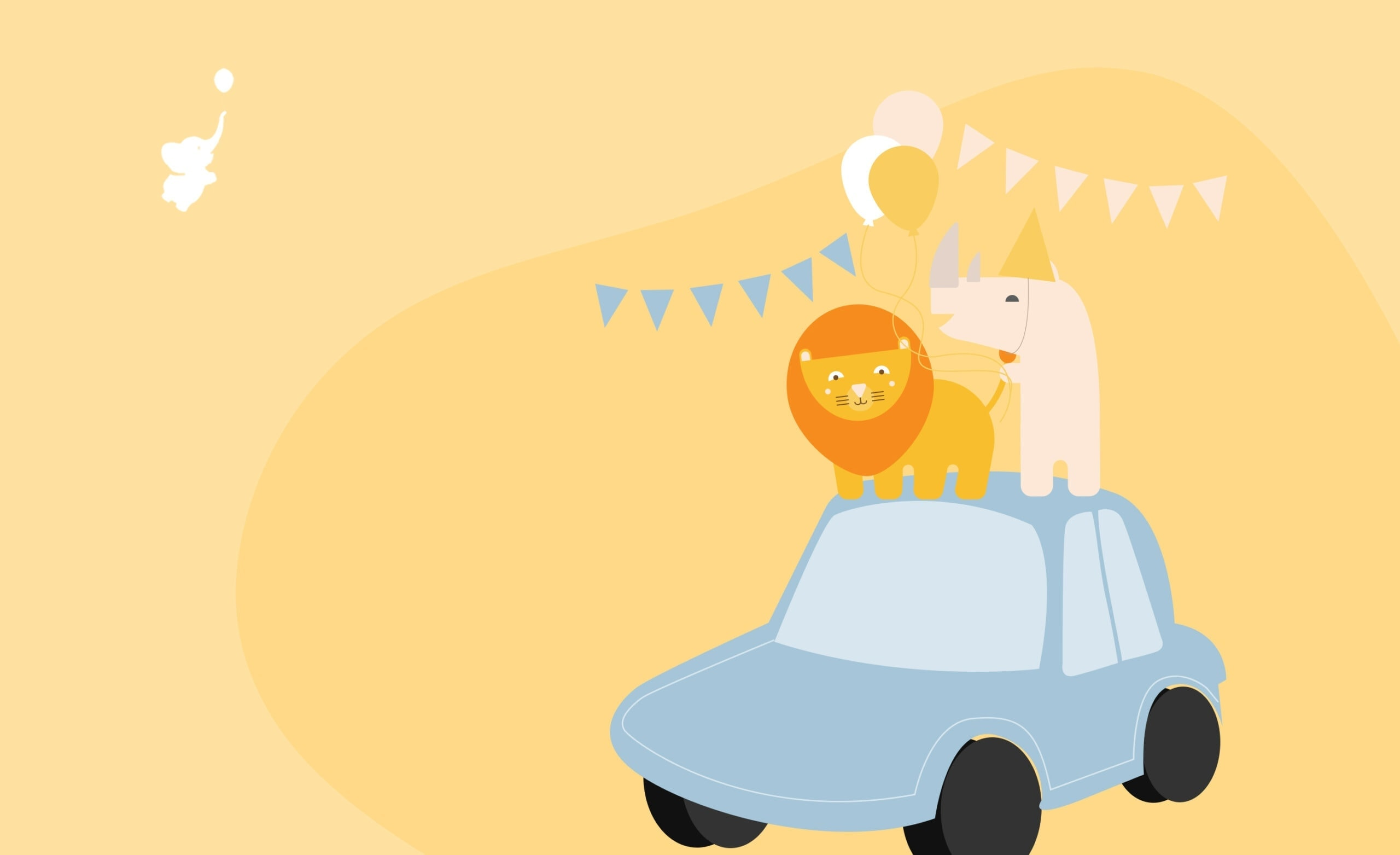 webbabyshower header image elephant and rhino on the car