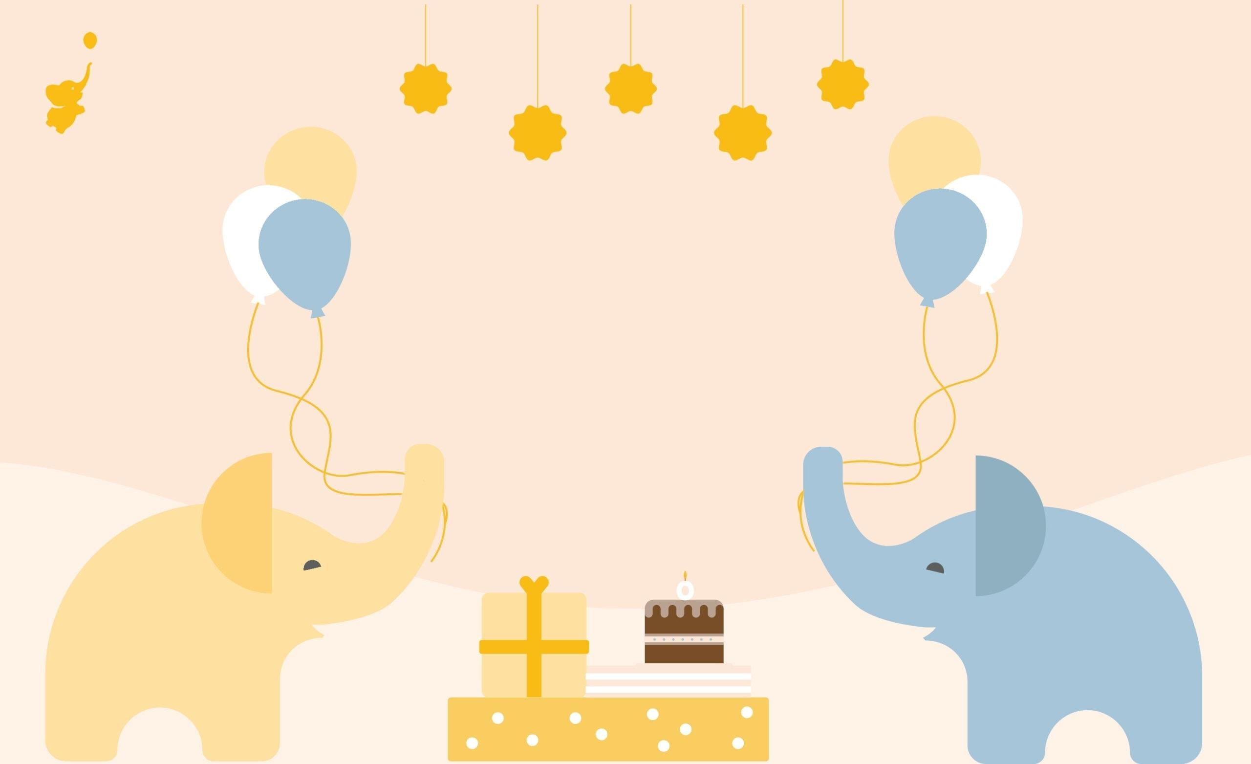 webbabyshower header image yellow elephant and blue elephant holding balloons