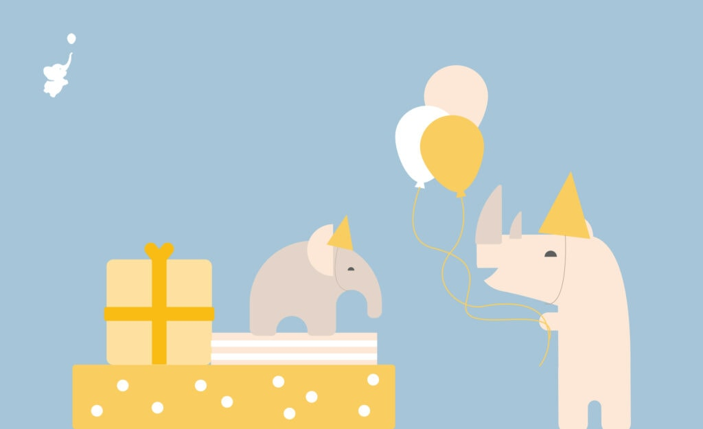 webbabyshower header image elephant on the gift with rhino and balloons
