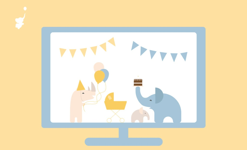 webbabyshower header image rhino and elephant inside a monitor
