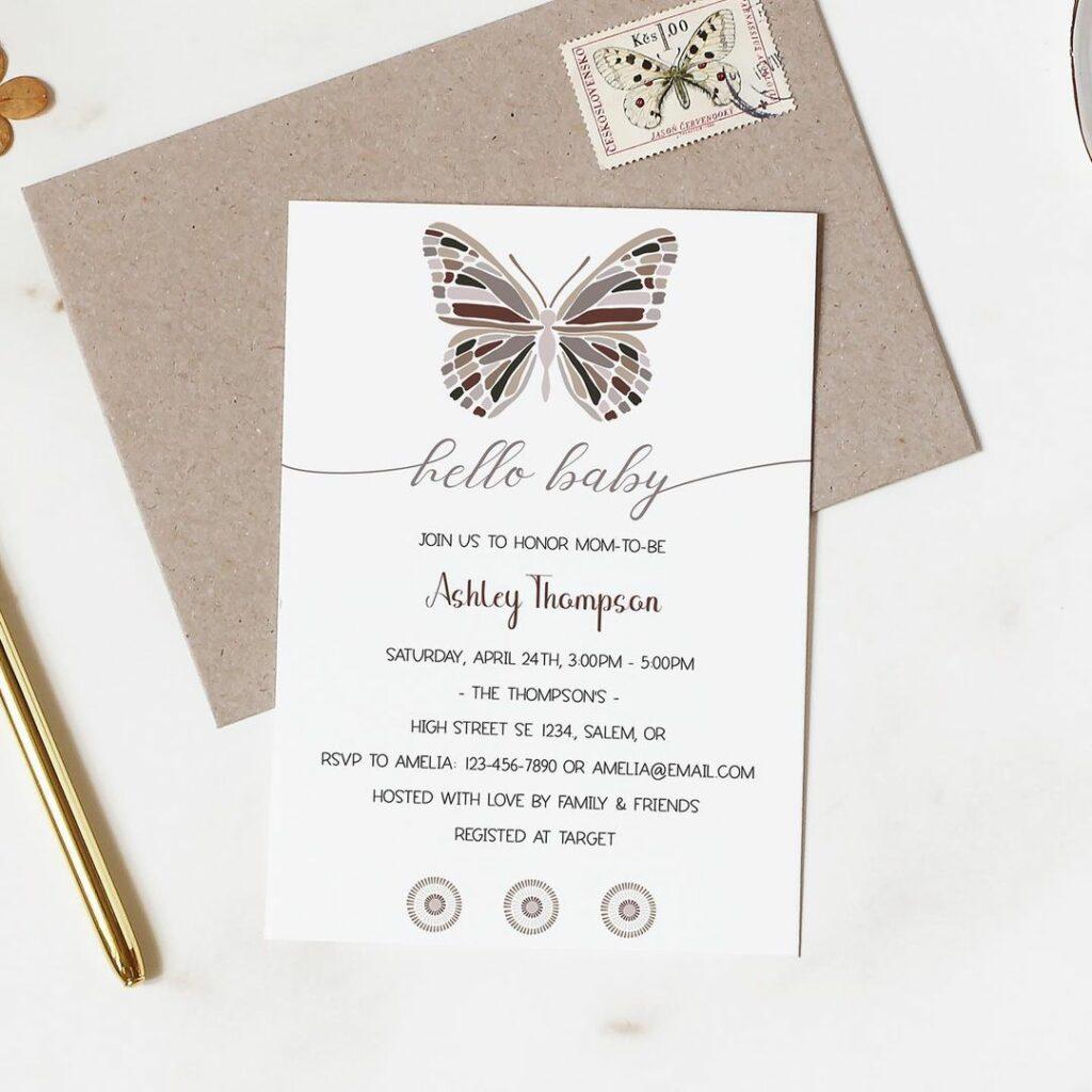 webbabyshower baby shower invitation hello baby butterfly