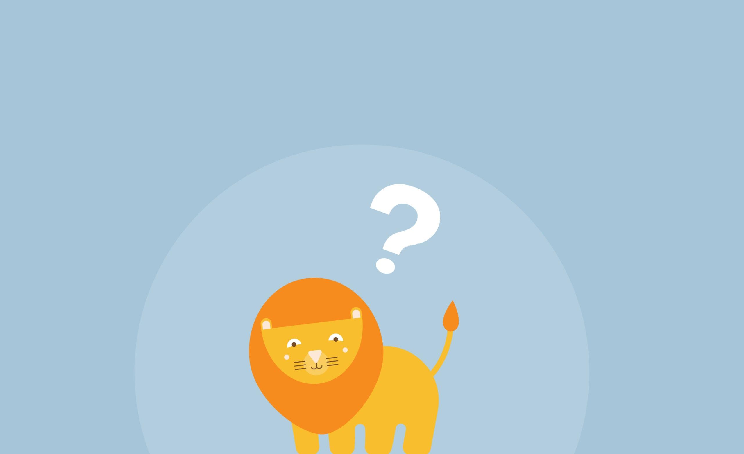 webbabyshower lion with question mark