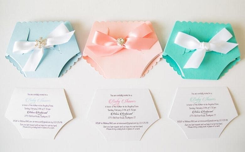 cute diaper shaped invitations