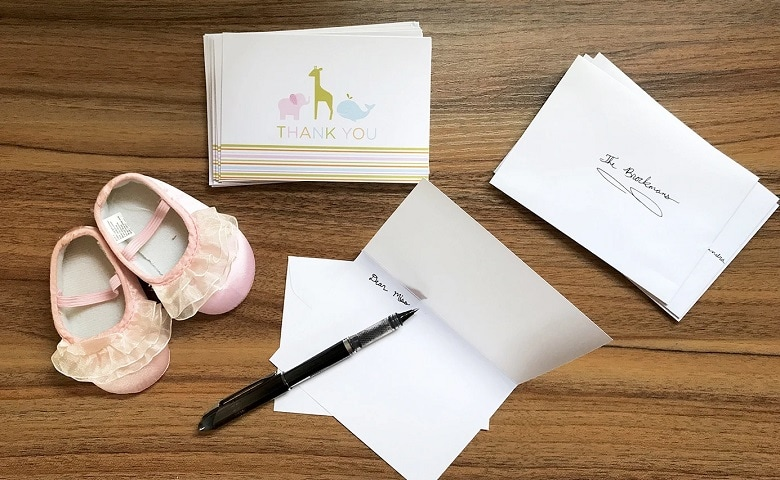 writing thank you note for guests