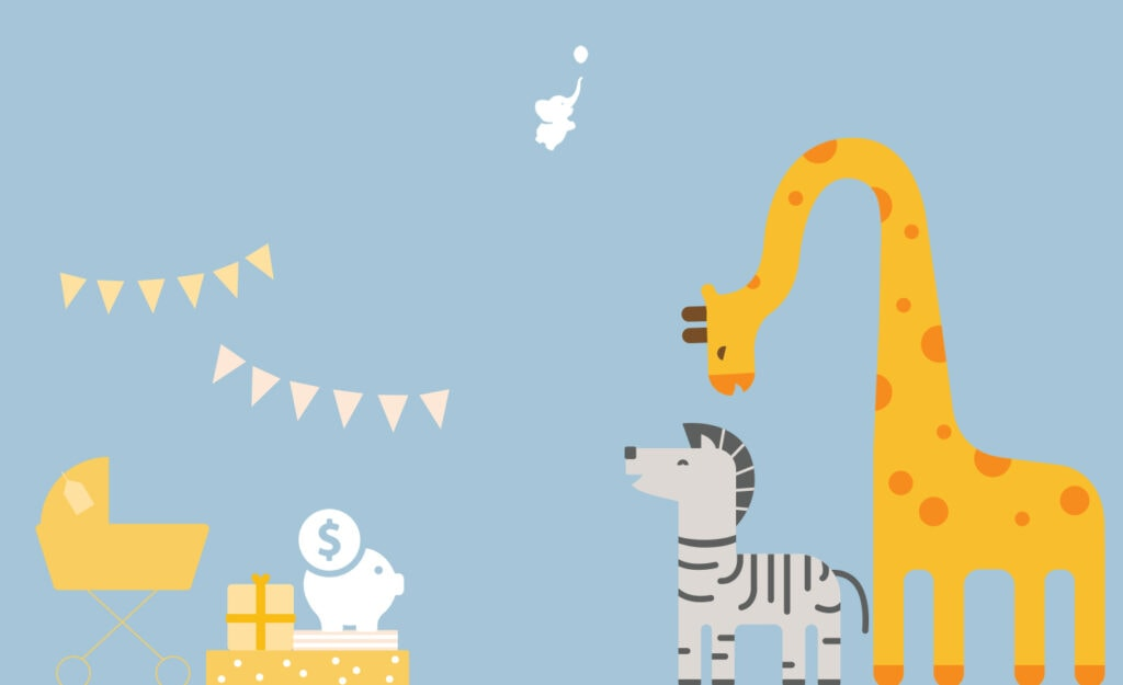 webbabyshower header image giraffe and zebra with piggy bank