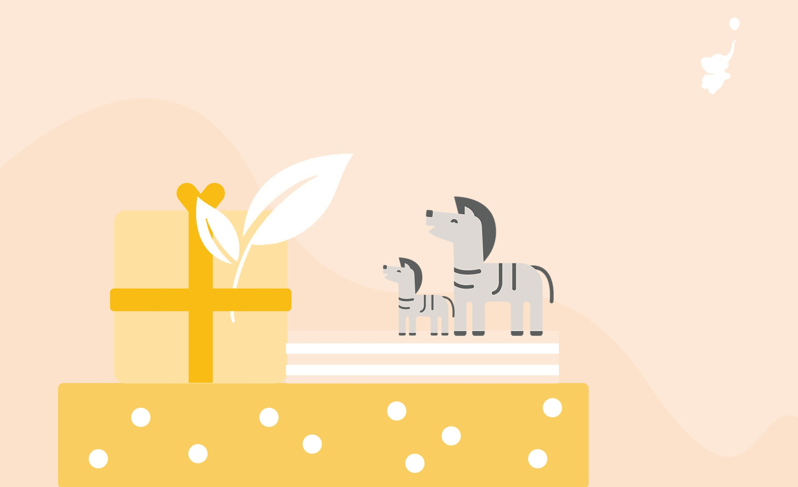 webbabyshower header image zebra at the top of a big eco friendly gift