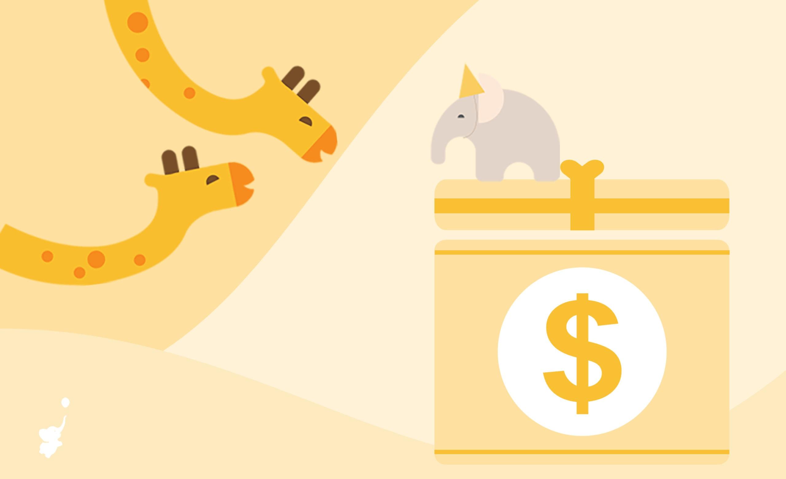 webbabyshower header image giraffe and elephant with big cash gift