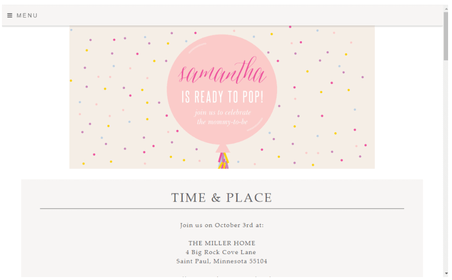 webbabyshower basic invite website baby shower template
