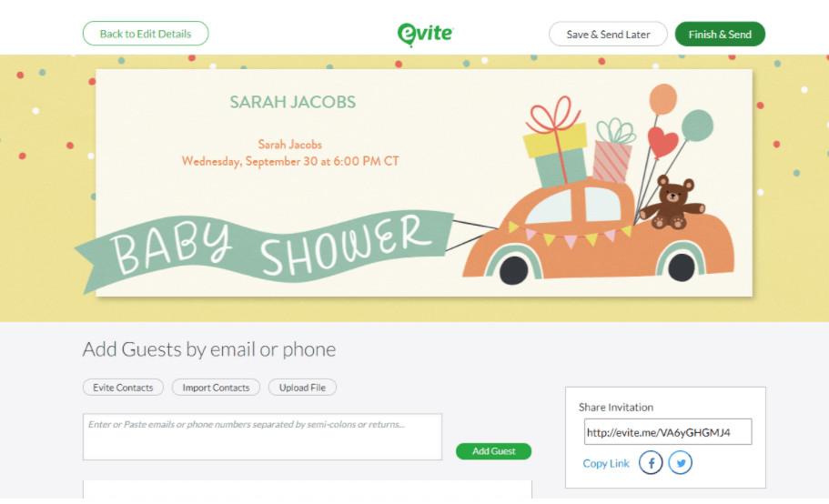 webbabyshower evite website baby shower template