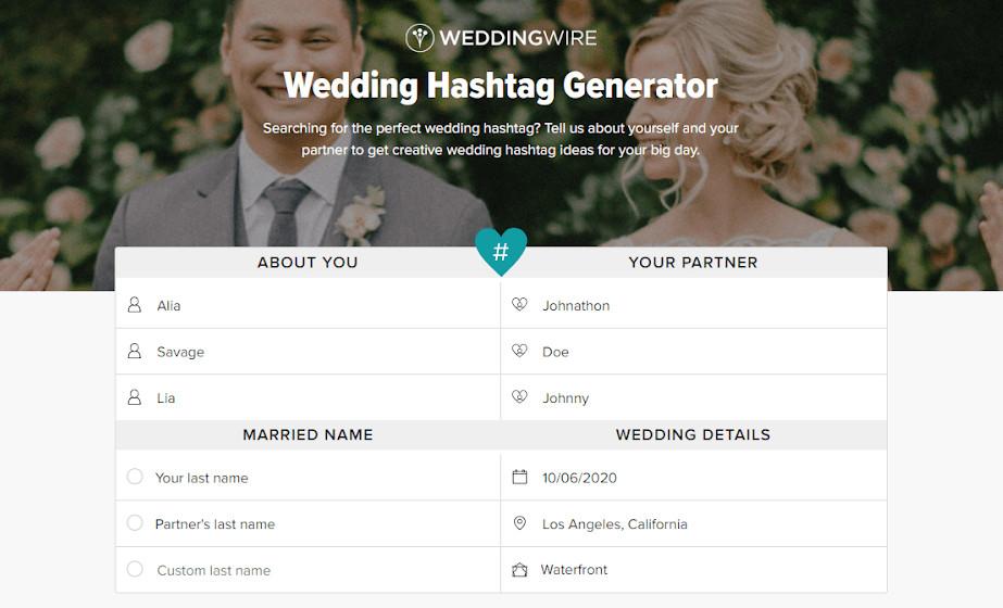 webbabyshower hashtag generator website