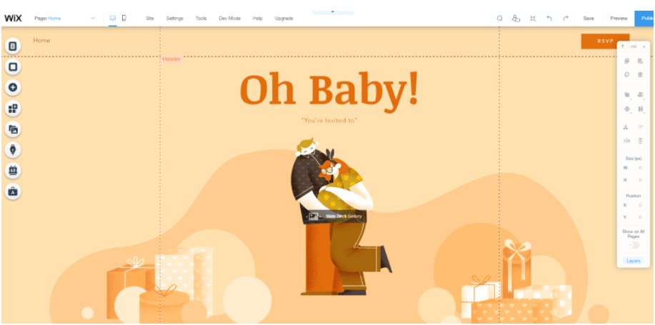 webbabyshower wix website baby shower template