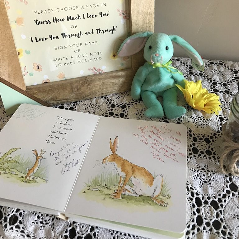 webbabyshower baby shower book with message image from instagram