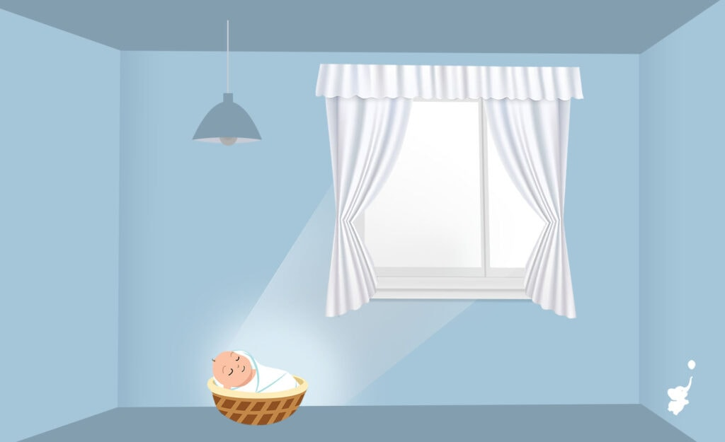 webbabyshower window with sheer curtain to diffuse, house lights off and angle of light to kid