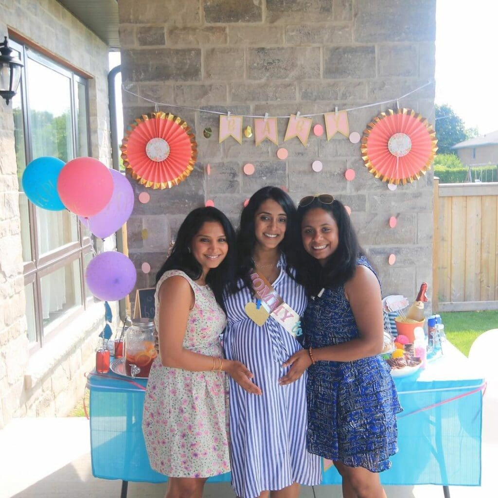 pregnant mom with friends during her baby shower image from instagram