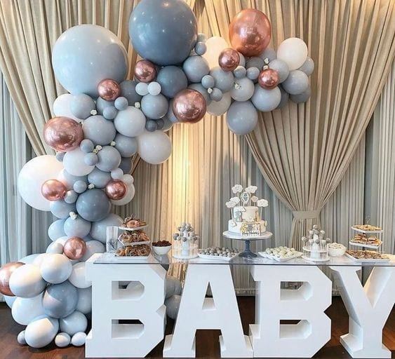 winter baby shower balloons and baby block