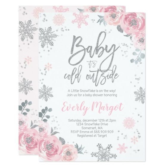 winter baby shower floral snowflakes invite