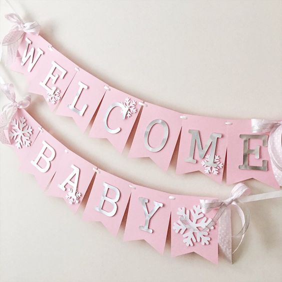 winter baby shower pink bunting